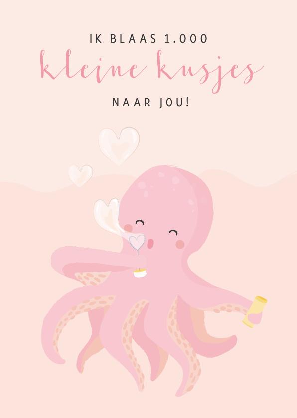 Liefde kaarten - Roze liefde kaart met illustratie van een octopus