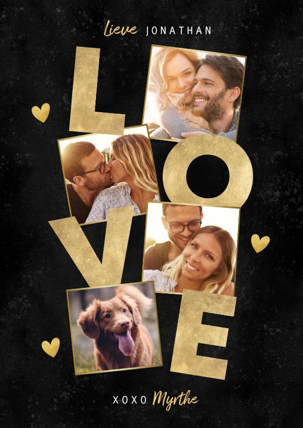 Liefde kaarten - Stijlvolle fotocollage liefdekaart met gouden LOVE & hartjes