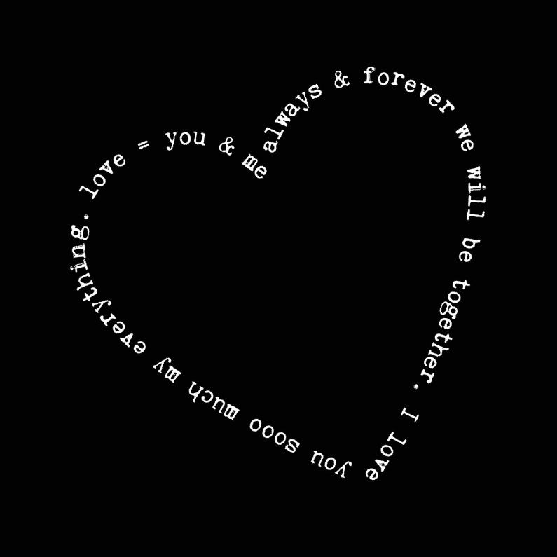 Liefde kaarten - Valentijnskaart tekst rand hart