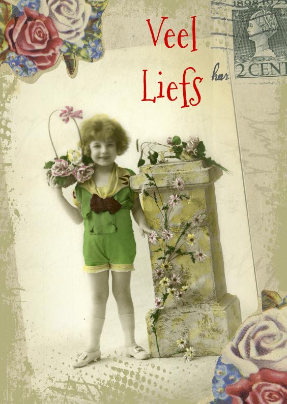 Liefde kaarten - Veel liefs vintage postcard