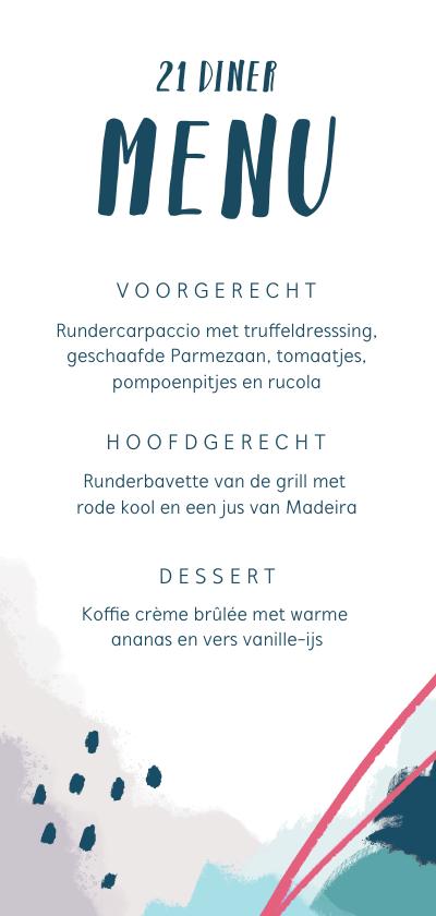 Menukaarten - Menukaart 21 diner abstract en stijlvol