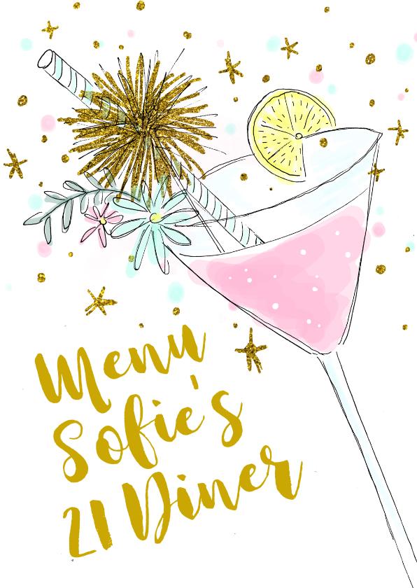 Menukaarten - Menukaart 21-diner cocktail hip