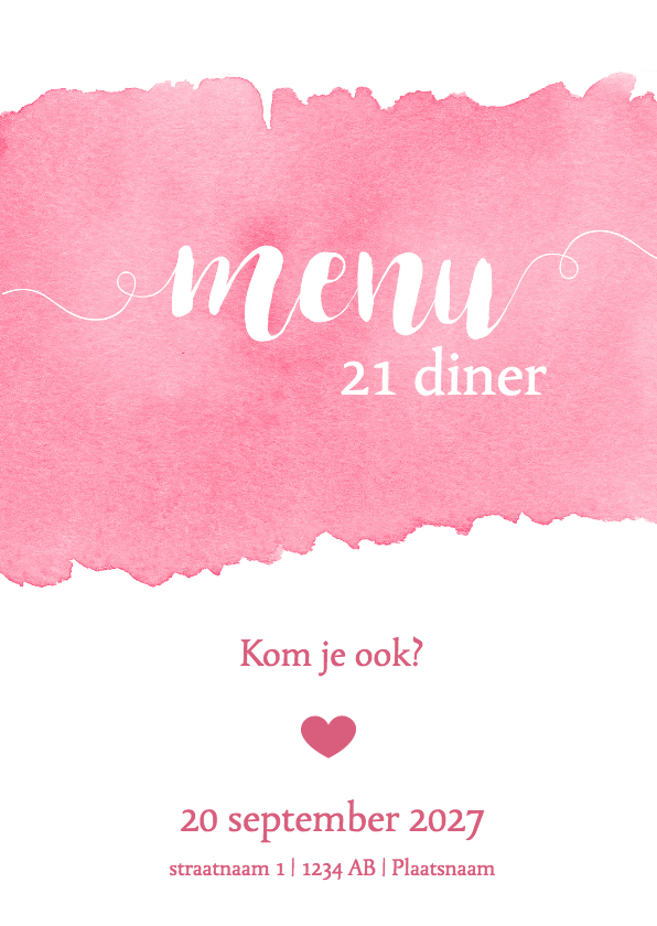 Menukaarten - Menukaart 21 diner waterverf roze - DH