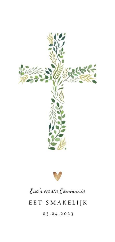 Menukaarten - Menukaart communie christelijk met kruis en gouden hartjes