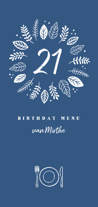 Menukaarten - Menukaart etentje stijlvol 21 diner