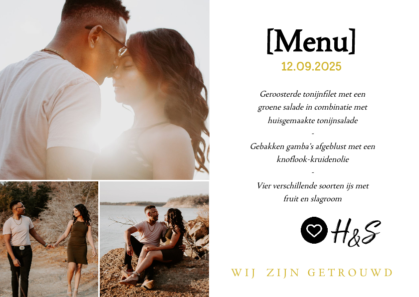 Menukaarten - Menukaart- huwelijksdiner met foto's