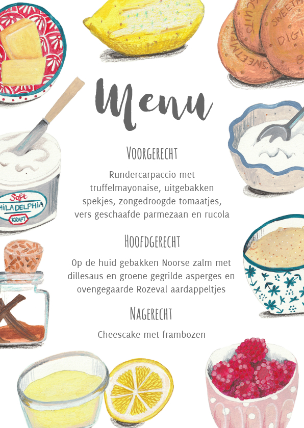 Menukaarten - Menukaart recept ingredienten taart
