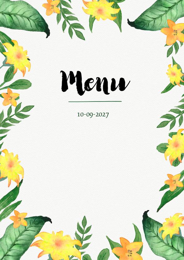Menukaarten - Menukaart voor bijvoorbeeld een 21 diner of tuinfeest
