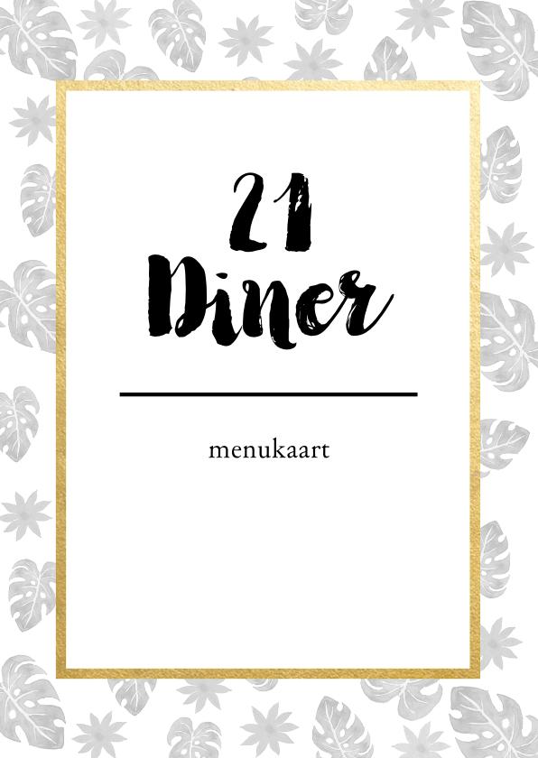 Menukaarten - Menukaart voor een 21 diner met botanische print