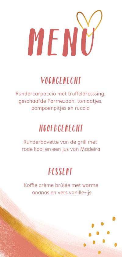 Menukaarten - Menukaart voor een diner stijlvol met roze en goud