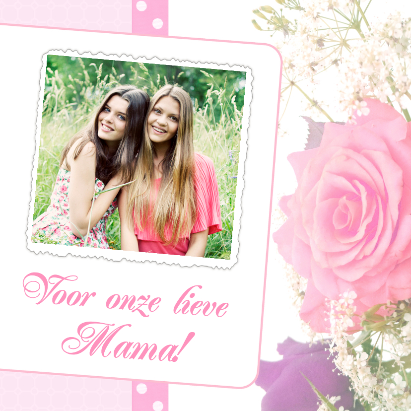 Moederdag kaarten - Bloemenkaart Roos Mama - BK