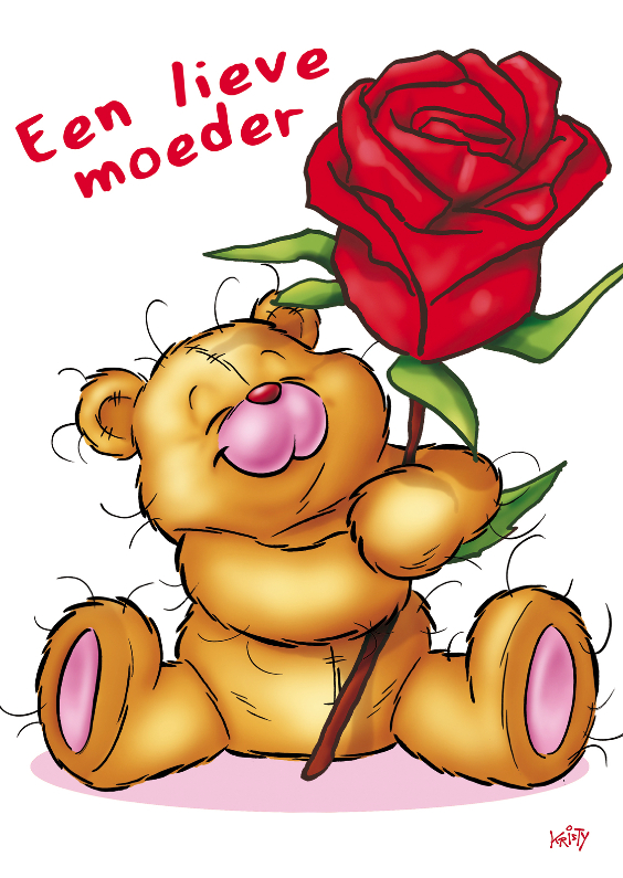 Moederdag kaarten - bristy moederdag 3 beer roos.