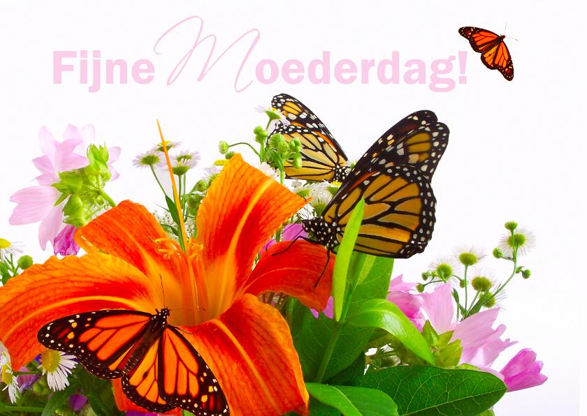 Moederdag kaarten - Fijne moederdag met bloemen en vlinders