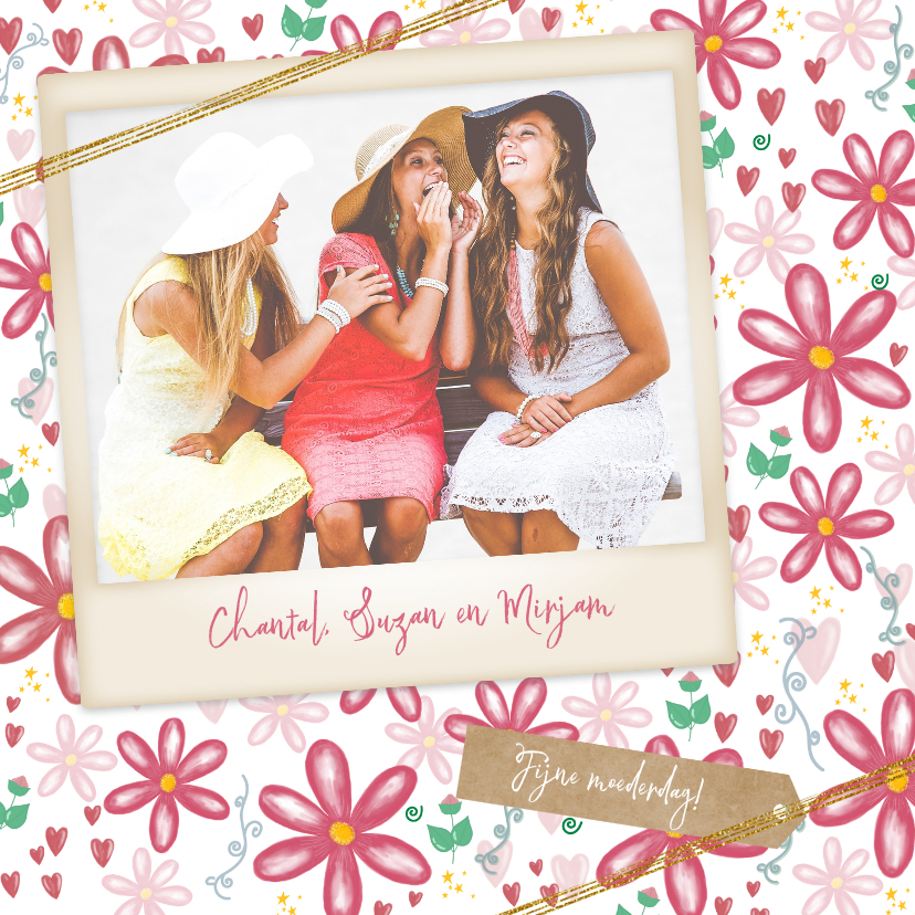 Moederdag kaarten - Fleurige moederdagkaart bloemen hartjes en je eigen foto