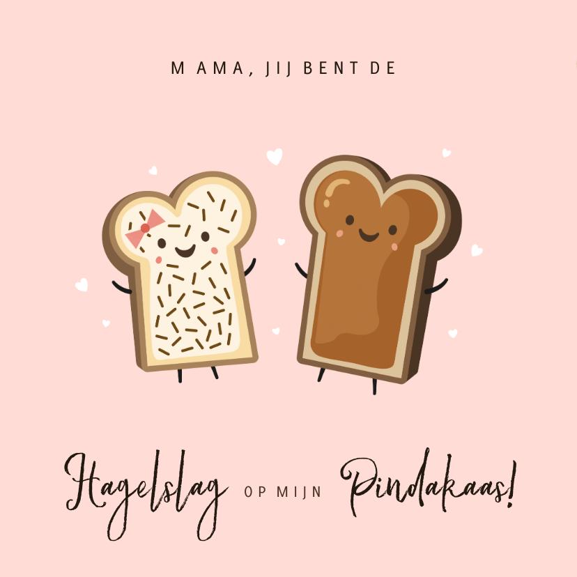 Moederdag kaarten - Grappige moederdagkaart hagelslag op mijn pindakaas