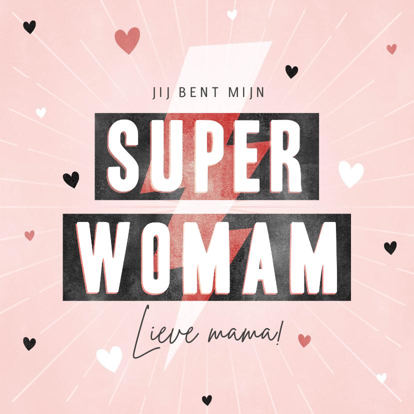 Moederdag kaarten - Hippe moederdag kaart Super Womam hartjes en bliksemschicht
