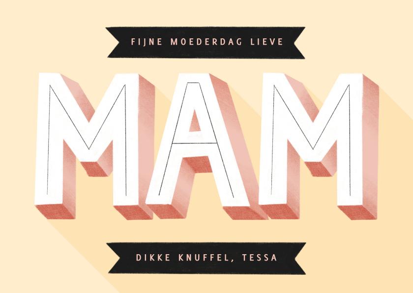 Moederdag kaarten - Hippe moederdag kaart typografie mam en banners