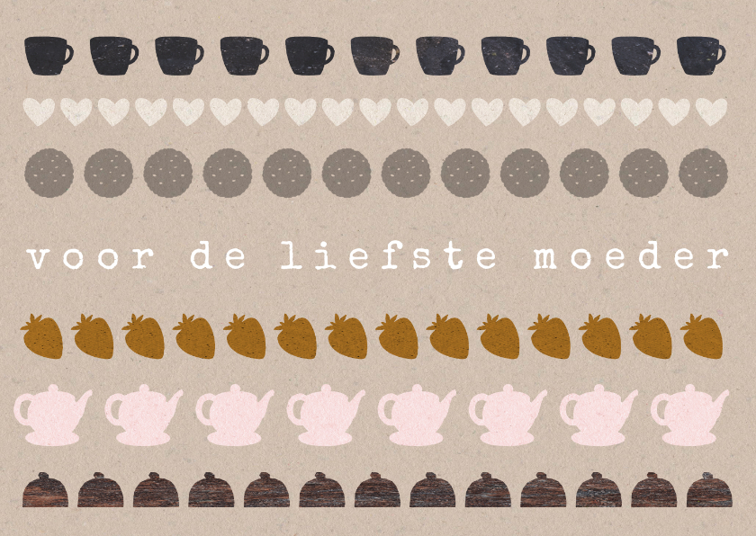 Moederdag kaarten - Hippe moederdagkaart craftpapier high tea