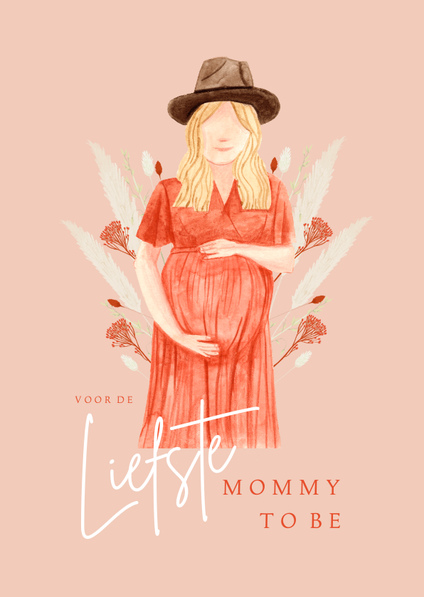 Moederdag kaarten - Hippe moederdagkaart mommy to be droogbloemen portret