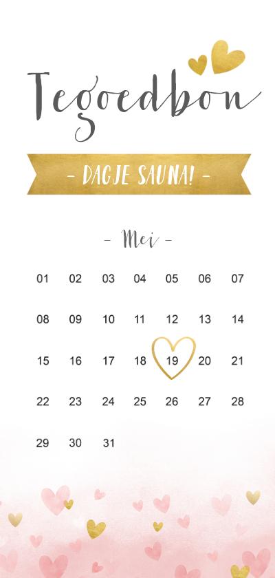 Moederdag kaarten - Langwerpige moederdag tegoedbon met kalender en hartjes