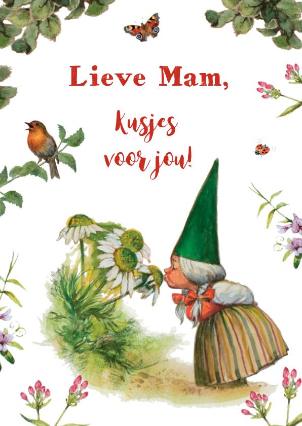Moederdag kaarten - Lieve kabouterkaart met heel veel kusjes voor mam