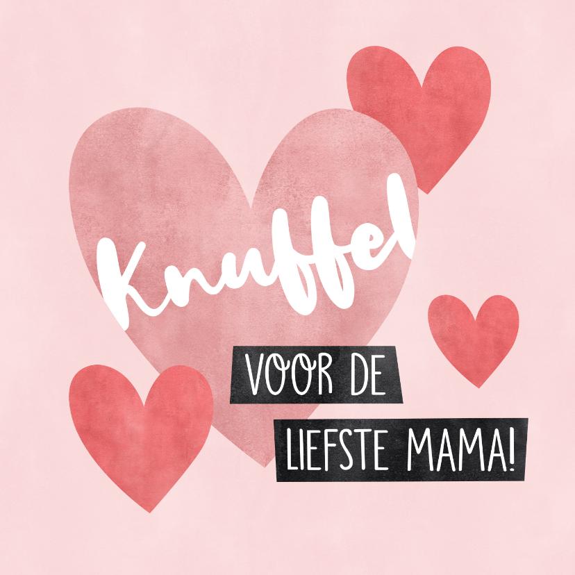 Moederdag kaarten - Lieve moederdag kaart Knuffel voor de liefste mama hartjes