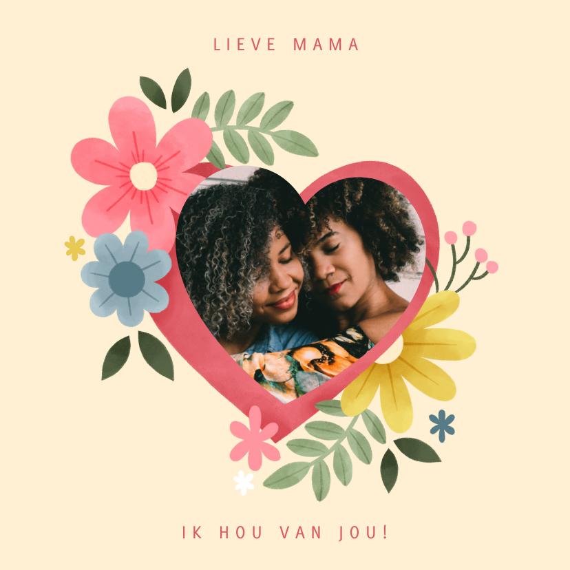 Moederdag kaarten - Lieve moederdag kaart met bloemen hart en foto