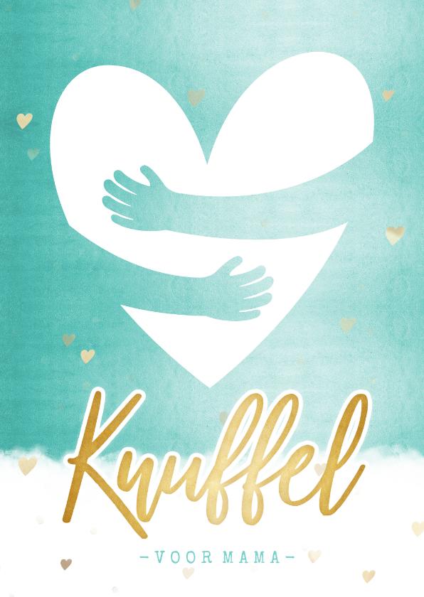 Moederdag kaarten - Make-A-Wish zomaar moederdagkaart met gouden hart knuffel