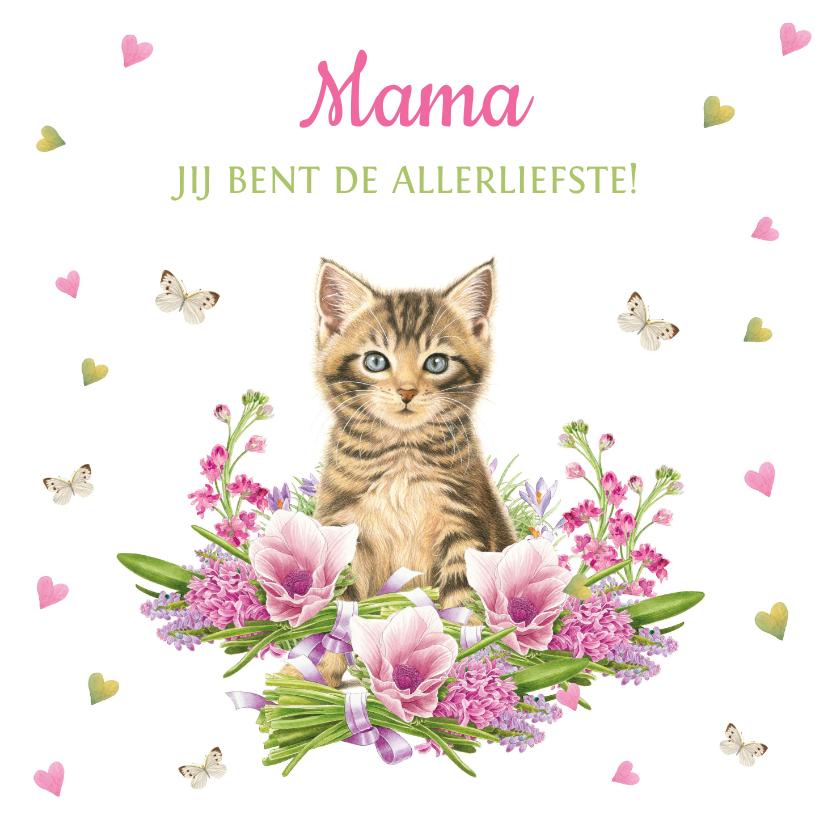 Moederdag kaarten - Mama jij bent de allerliefste - kaart met kitten