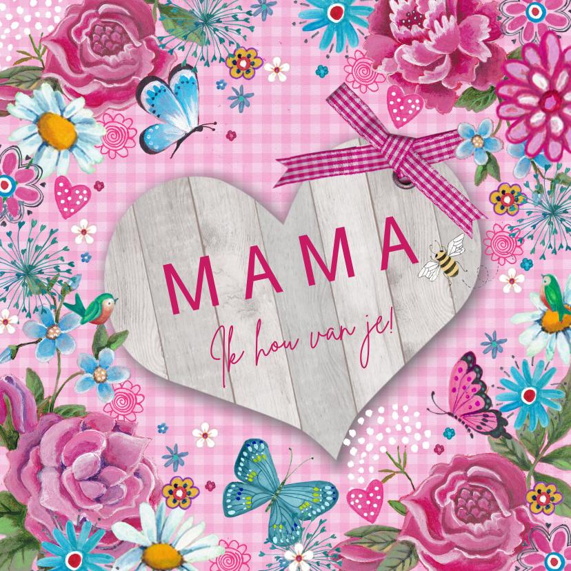 Moederdag kaarten - Mama Moederdag Hart Hout
