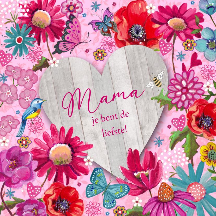 Moederdag kaarten - Moederdag Bloemen HART hout vlinder