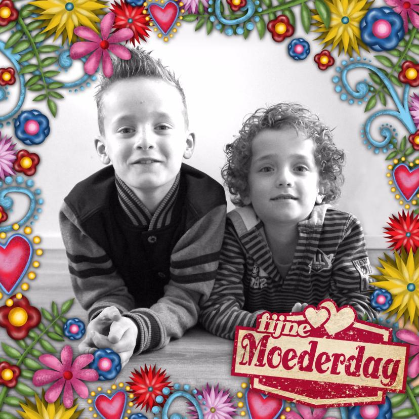 Moederdag kaarten - moederdag bloemen kader foto