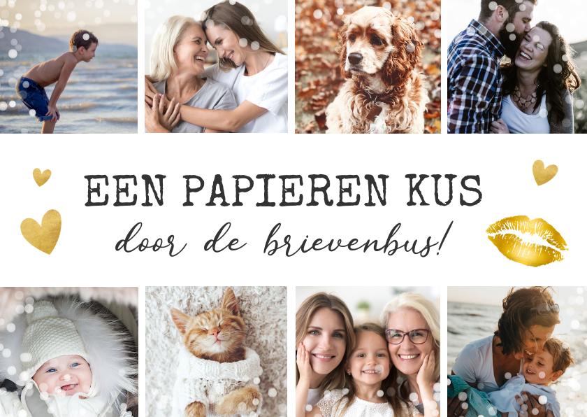 Moederdag kaarten - Moederdag fotocollage kaart met 8 foto's - kus in brievenbus