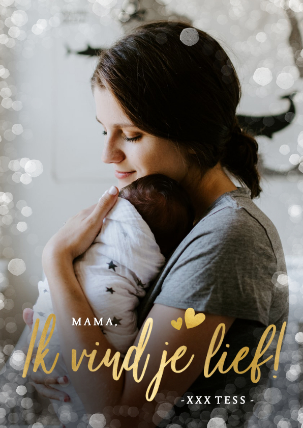 Moederdag kaarten - Moederdag fotokaart ik vind je lief voor de liefste mama