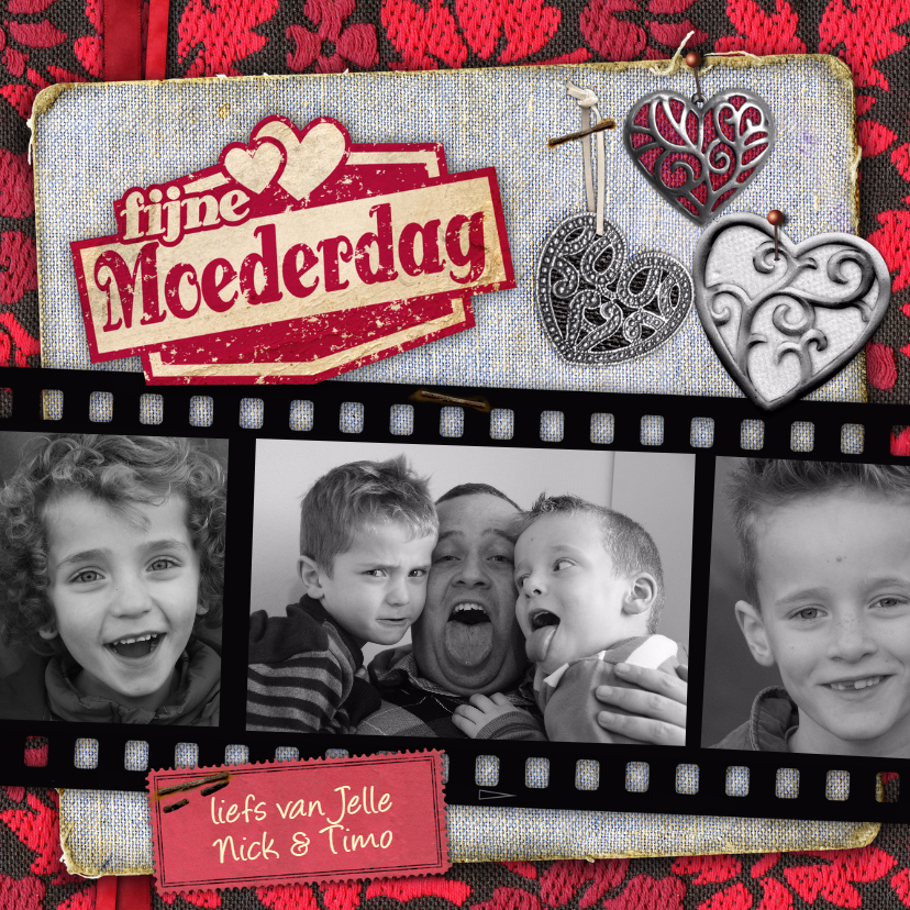 Moederdag kaarten - moederdag fotostrip hartjes fotos