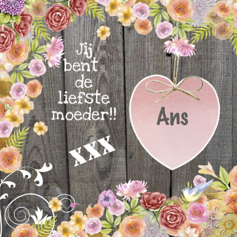 Moederdag kaarten - moederdag hart bloemen