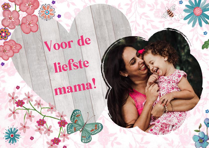 Moederdag kaarten - Moederdag HART hout Liefste Mama