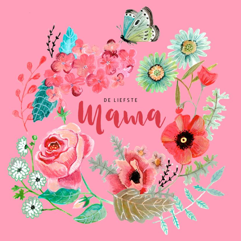 Moederdag kaarten - Moederdag klaprozen bloemen krans
