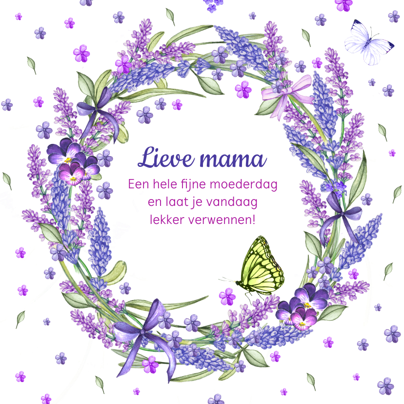 Moederdag kaarten - Moederdag lavendelkrans