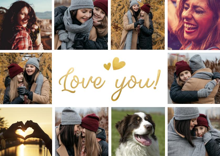 Moederdag kaarten - Moederdag love you fotocollage kaart met 10 foto's
