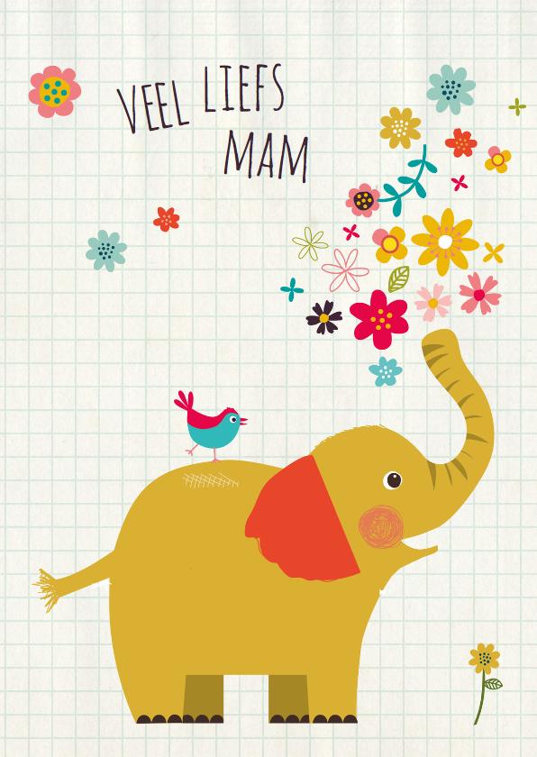 Moederdag kaarten - Moederdag olifant met vogeltje