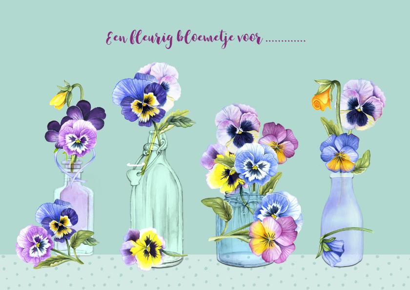 Moederdag kaarten - Moederdag vaasjes viooltjes