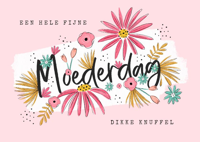 Moederdag kaarten - Moederdagkaart bloemen fijne moederdag lieve mama