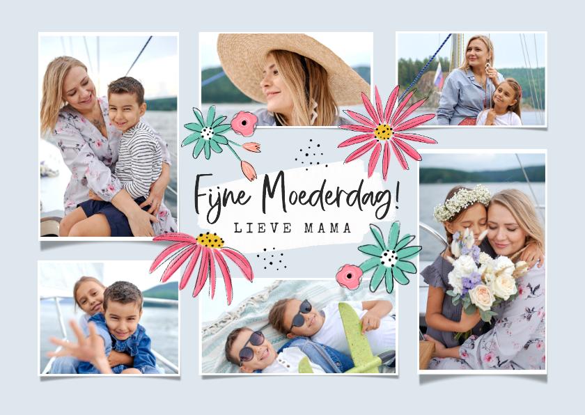 Moederdag kaarten - Moederdagkaart bloemen fotocollage fijne moederdag