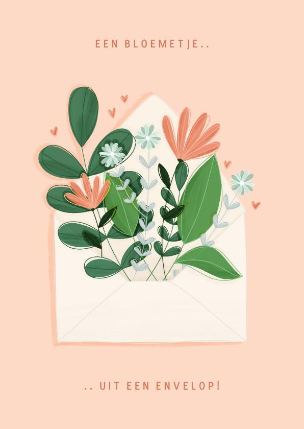 Moederdag kaarten - Moederdagkaart bloemetje uit een envelop