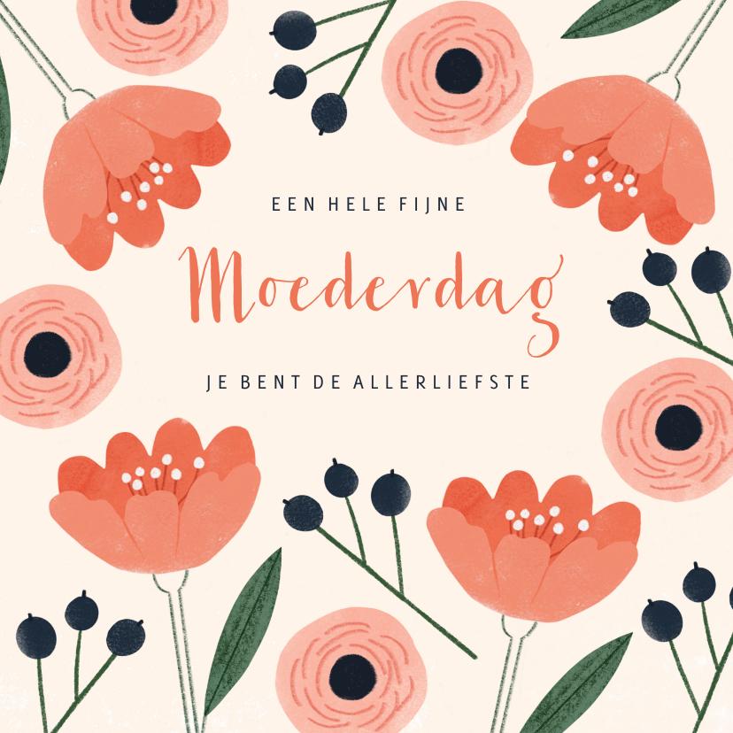 Moederdag kaarten - Moederdagkaart de allerliefste met pastel bloemen