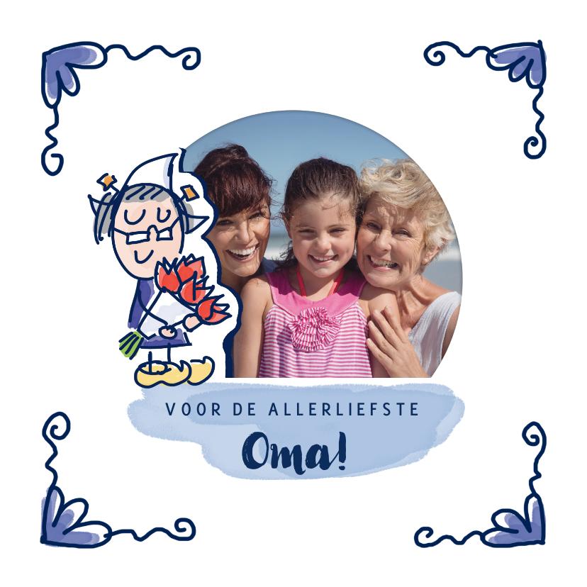 Moederdag kaarten - Moederdagkaart delfts blauw tegeltje met foto en oma
