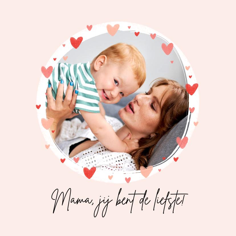 Moederdag kaarten - Moederdagkaart foto hartjes lief eerste moederdag