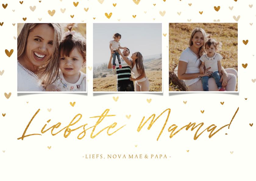 Moederdag kaarten - Moederdagkaart fotocollage 'liefste mama!' met hartjes