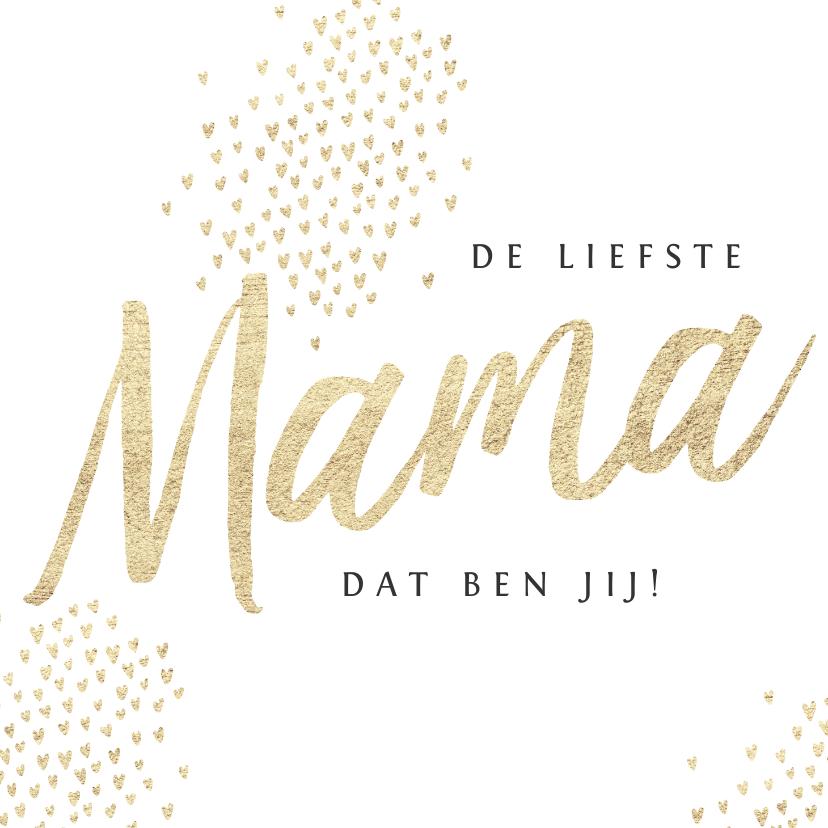 Moederdag kaarten - Moederdagkaart goud mama hartjes foto's stijlvol